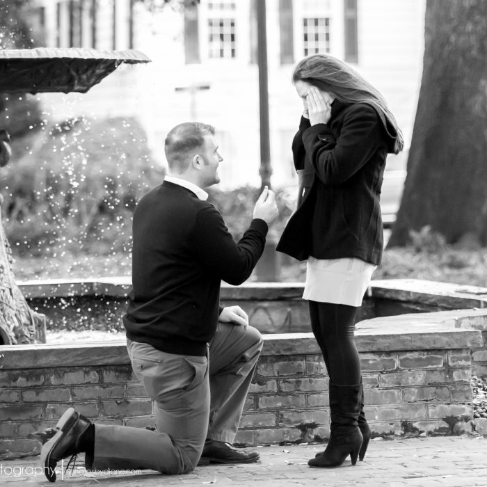 Marriage Proposal in Savannah's Historic Columbia Square