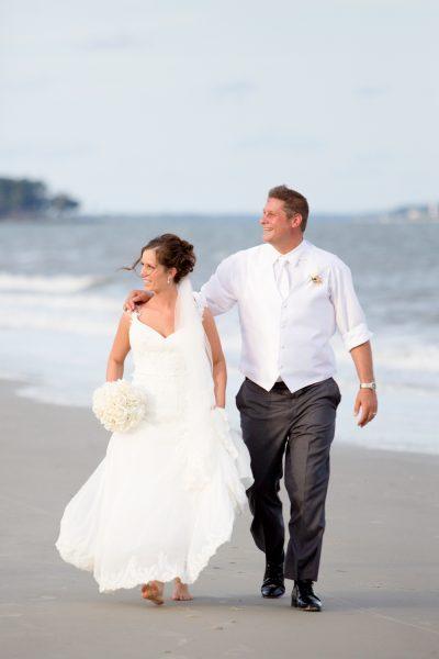bride and groom on beach - diane dodd photography - savannah georgia