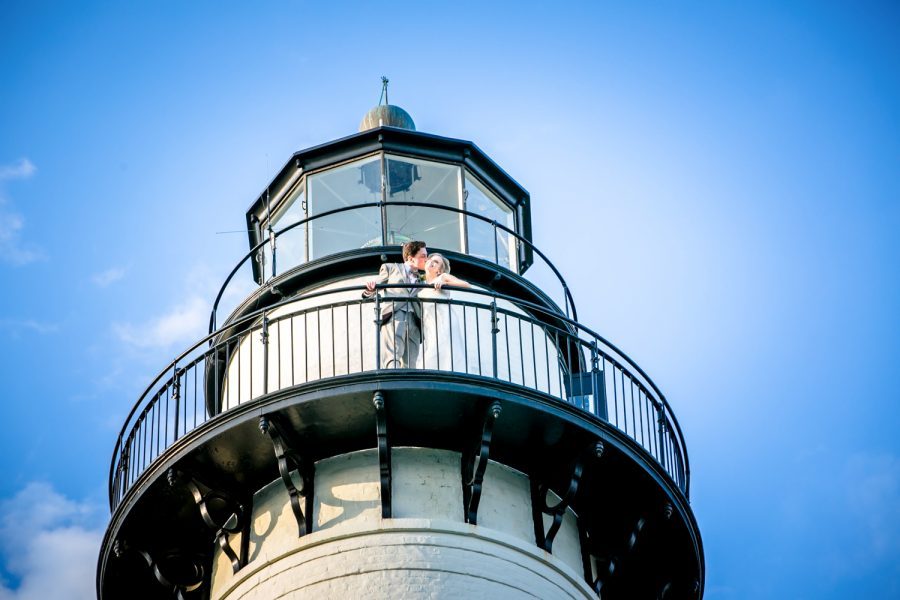bride and groom on lighthouse - diane dodd photography - savannah georgia